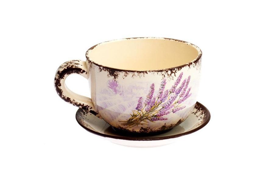 Ghiveci ceramic cu farfurie Lavender